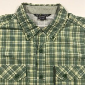 EXOFFICIO Mens Large Green Oxford Adventure Shirt
